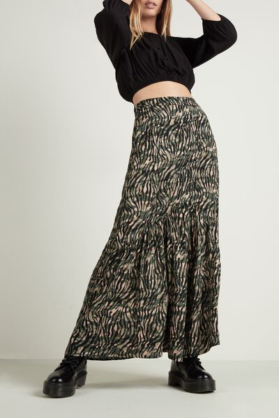 Long Skirt with Frill and Slit