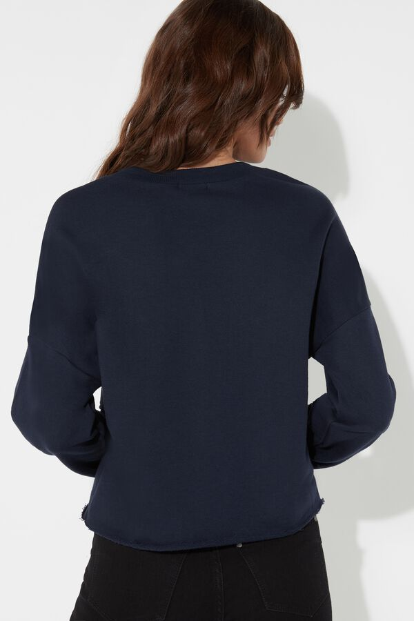 Raw Edge Cropped Sweatshirt with Pocket