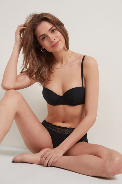 Madrid Extra-Padded Bandeau Bra in Microfibre and Recycled Lace