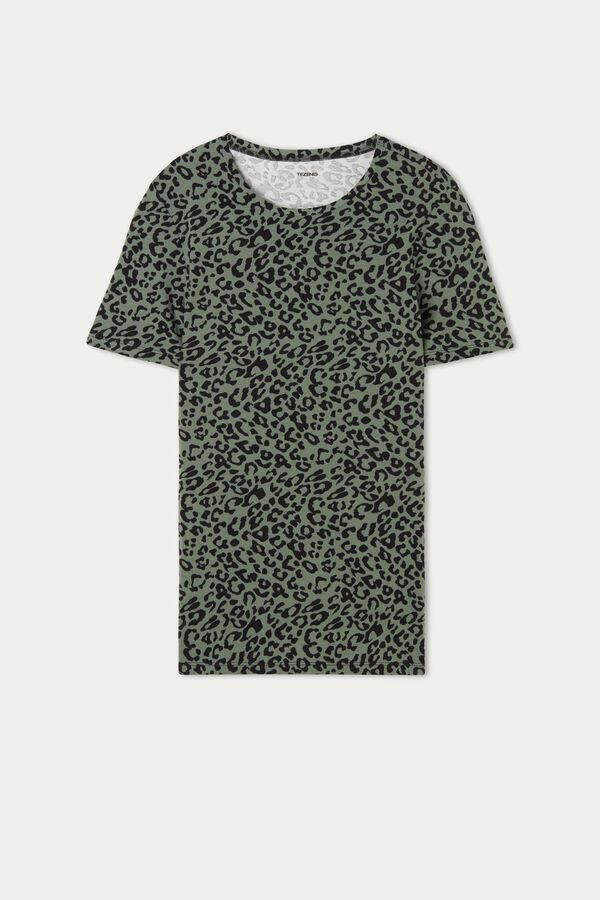Rundhals-T-Shirt aus elastischer Baumwolle mit Print