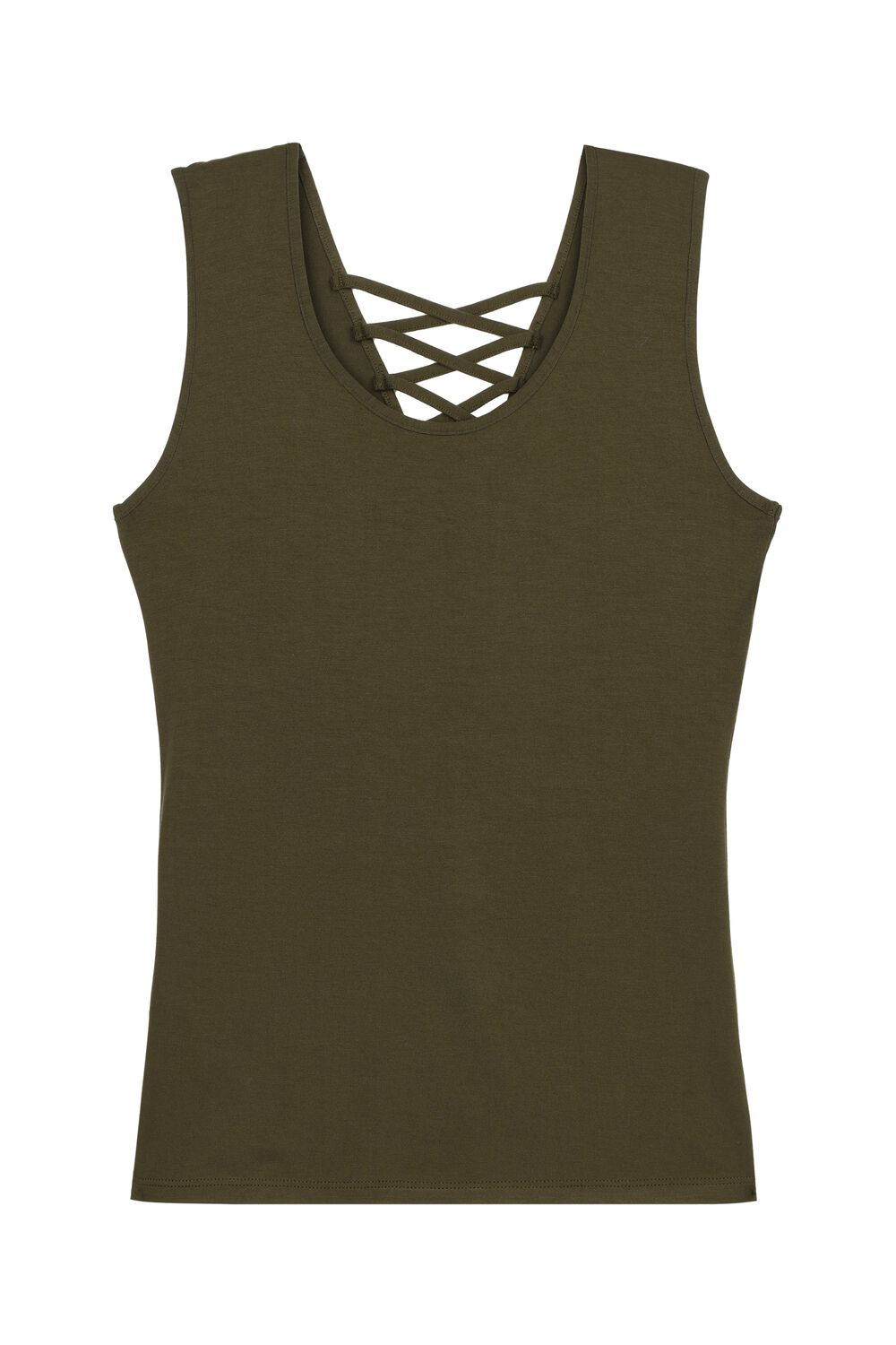 Reversible V-Neck Vest Top with Lace-Up Detail
