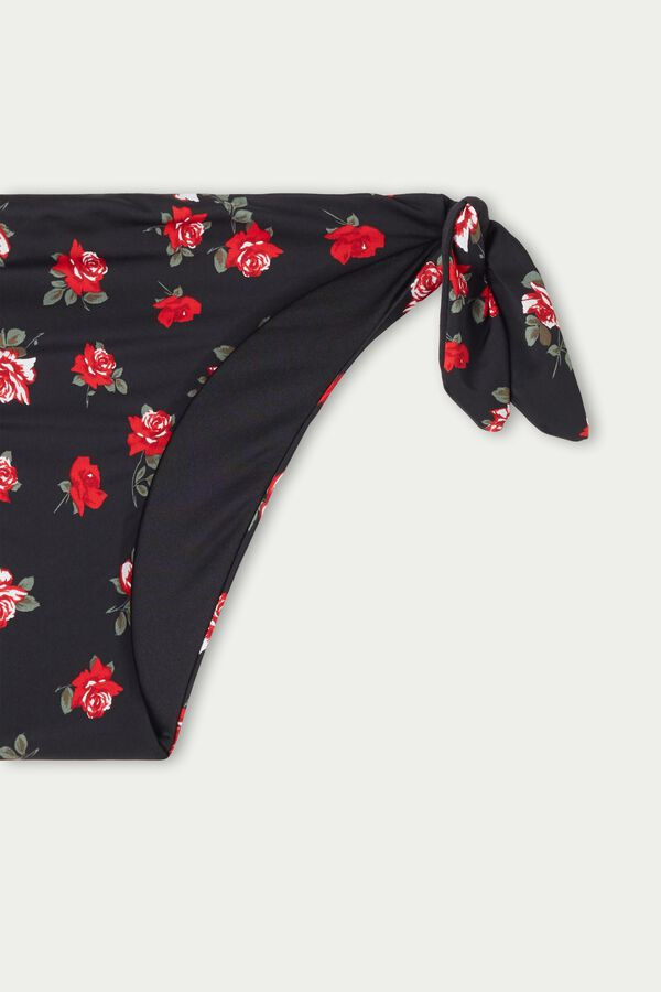 Rose Print Bikini Bottoms with Bows