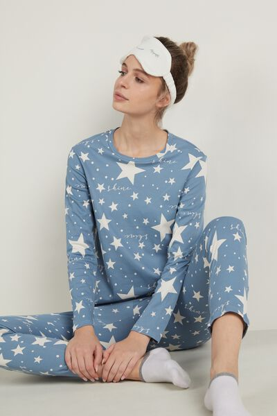 Long Cotton Star Print Pajamas