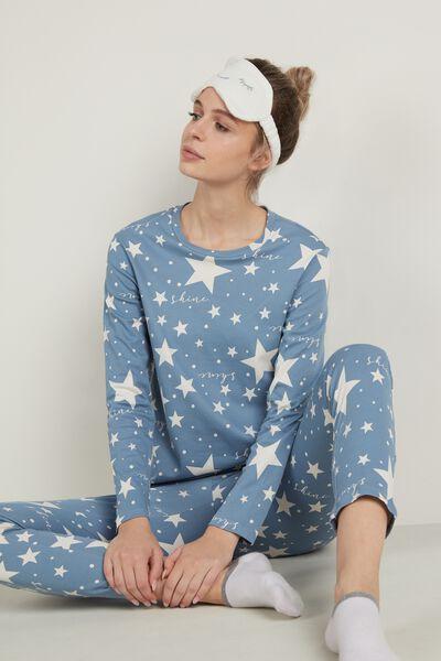 Langer Pyjama aus Baumwolle mit Sternenprint