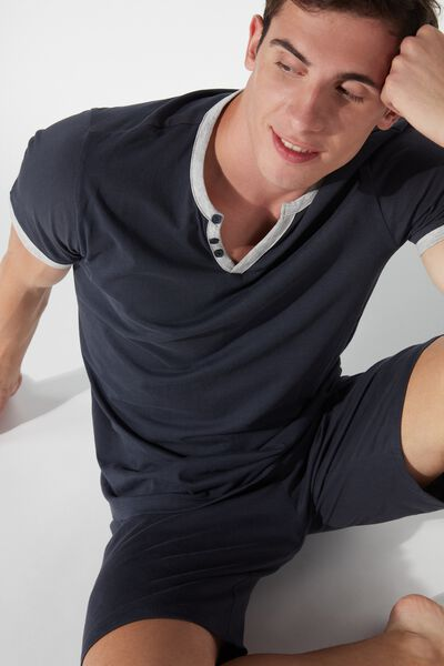 Men's Short V-Neck Pyjamas with Buttons