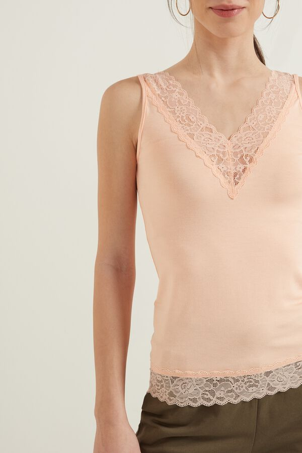 Reversible V-Neck Lace Tank Top