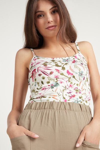 Round-Neck Camisole in Stretch Cotton
