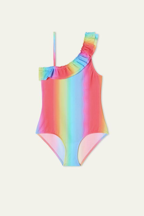 Girl's Rainbow Print One-Piece Swimsuit
