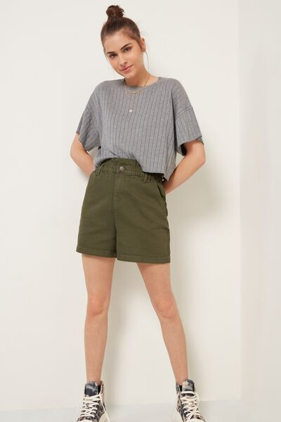 Ruched-waist jean shorts