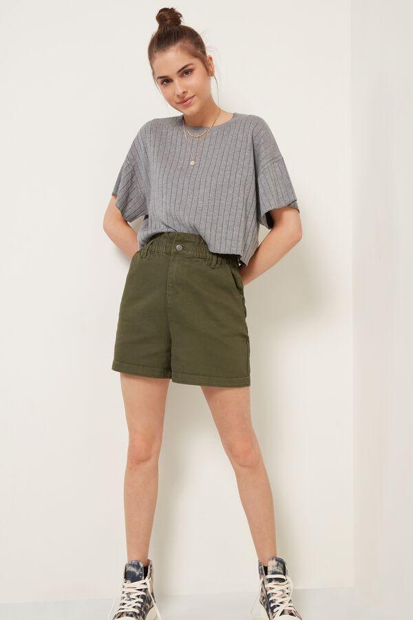 Denim Shorts with Gathered Waist.