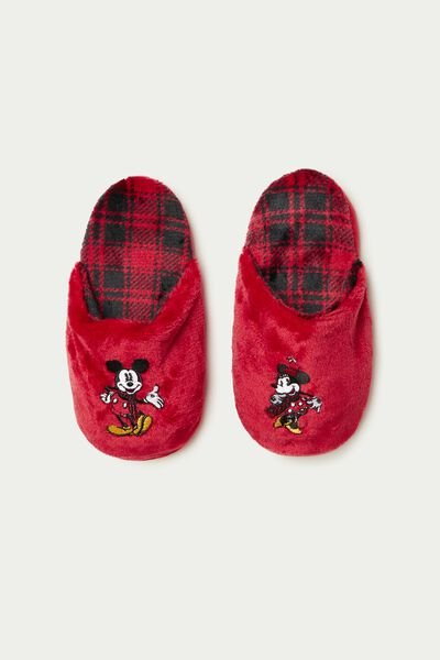 Schlappen/Hausschuhe aus Fleece Mickey Maus & Minnie