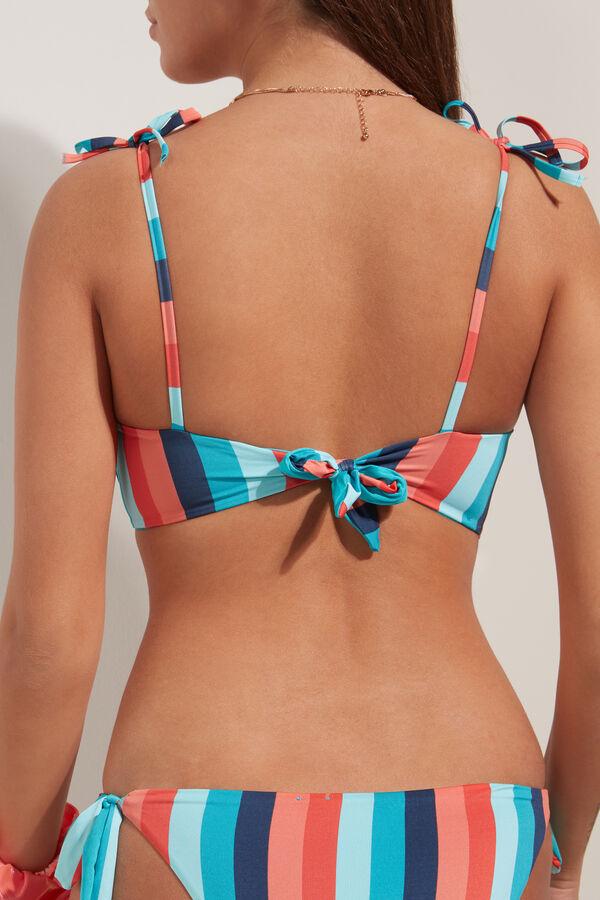 Bikini Brasier con Relleno y Rayas de Colores