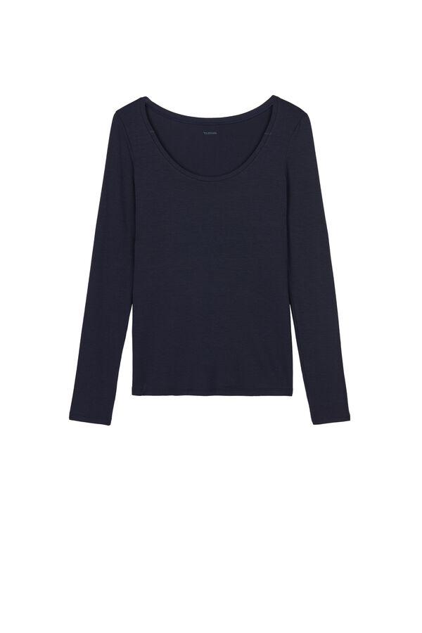 Long-Sleeve Scoop-Neck Viscose Top