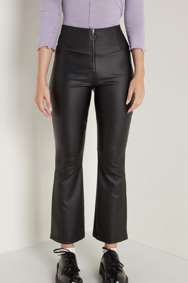 Leather-Effect Canvas Leggings with Zip