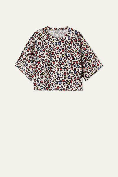 Krátke Bavlnené Tričko so Stredne Dlhými Spadnutými Rukávmi