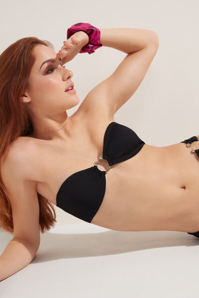 Ribbed Bandeau Bikini Top with Pierced Detail