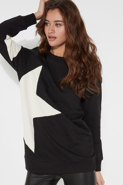 Round-Neck Sweatshirt with Star Patch
