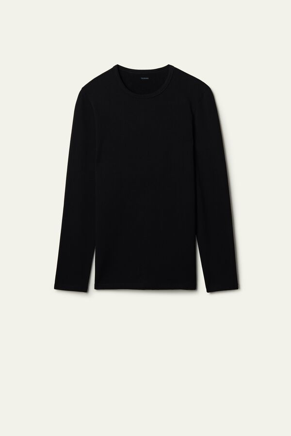 Long-Sleeve Round-Neck Thermal Cotton Top