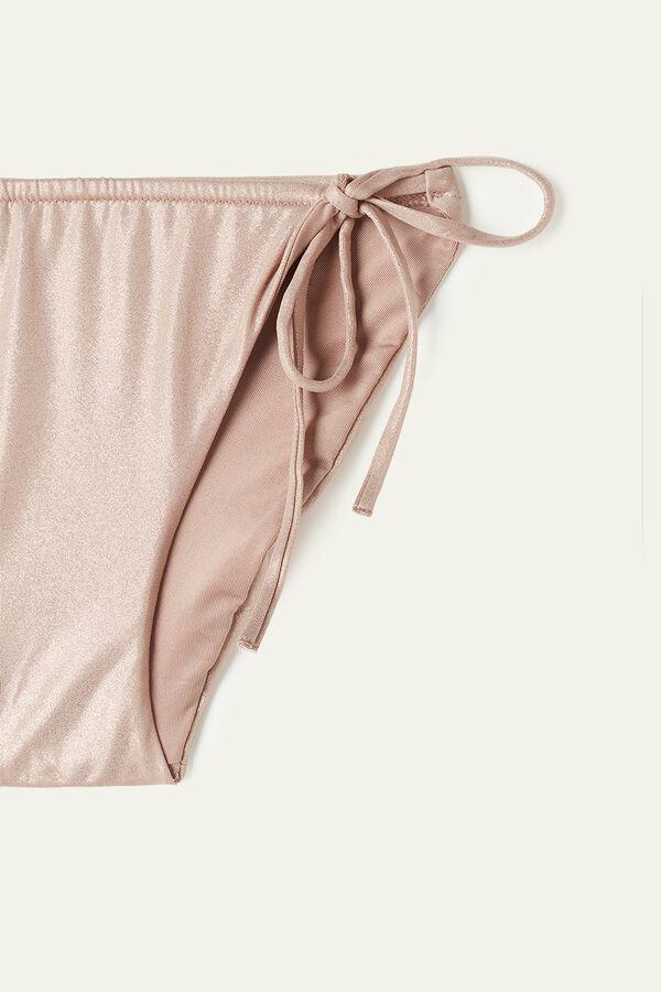 Shiny Nude Bikini Bottoms with Straps