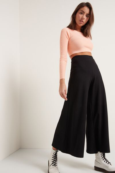 Milano-Stitch Cropped Wide-Leg Trousers