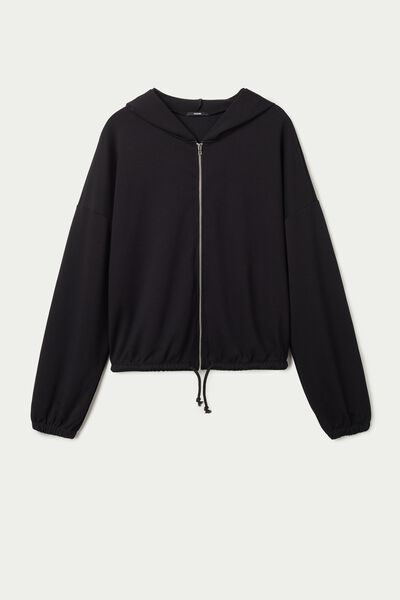 Bomber Sweatshirt with Zipper and Hood