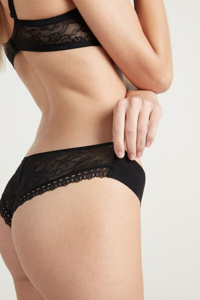Lace and Raw-Cut Cotton Cheeky Panties
