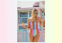 Badeanzug mit Raffung Rainbow