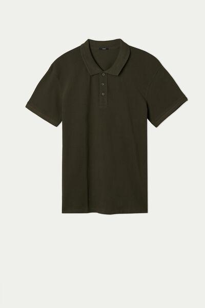 Poloshirt aus Baumwollpikee mit Knöpfen