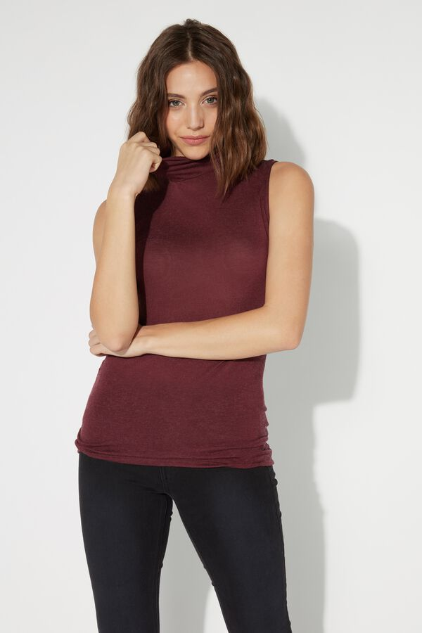 Sleeveless High-Neck Top in Viscose and Merino Wool