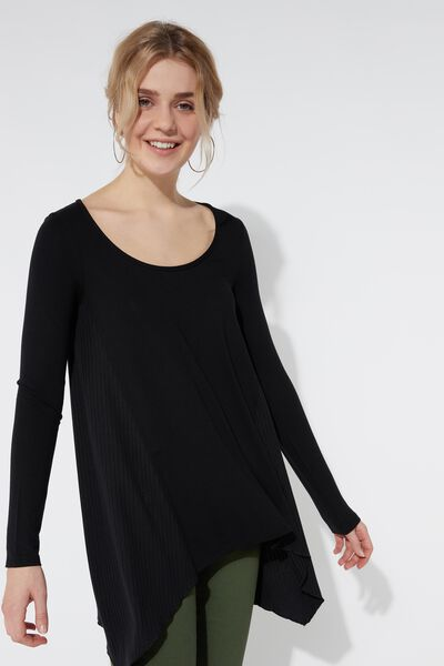 Long Sleeve Top with Ribbed Panels