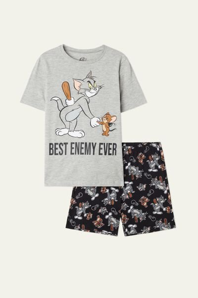 Kurzer Pyjama mit Tom and Jerry Print Best Enemy