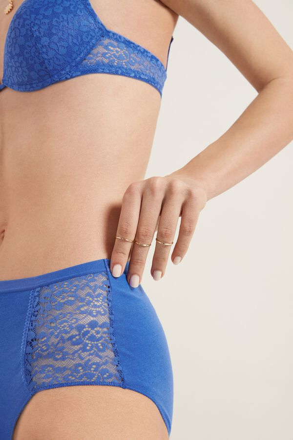Cotton and Recycled Lace High-Waist Knickers