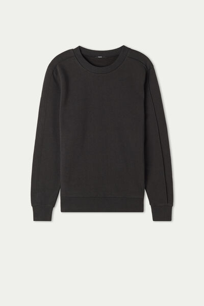 Crewneck Sweatshirt with Embossed Stitching