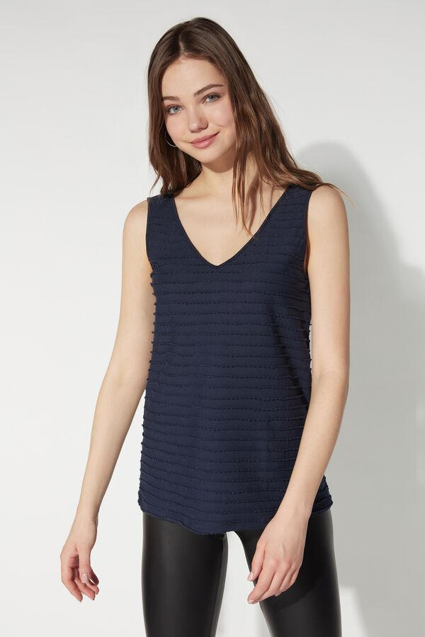 Scalloped Cotton V Neck Tank Top