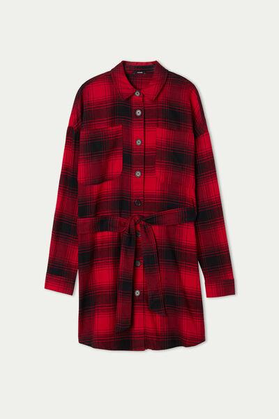 Cotton Flannel Shirt Dress with Sash