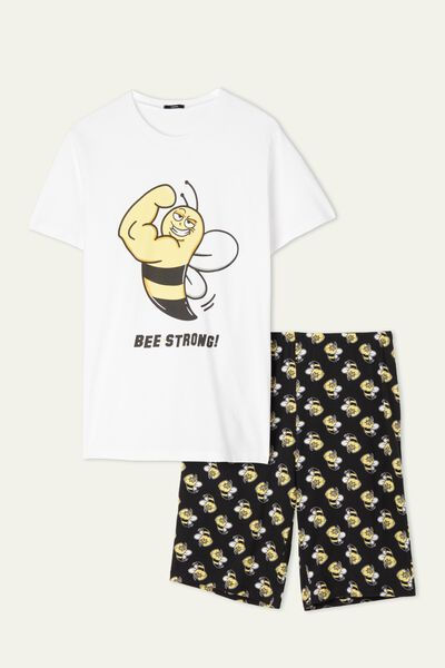 Men's Short Organic Cotton Bee Print Pajamas