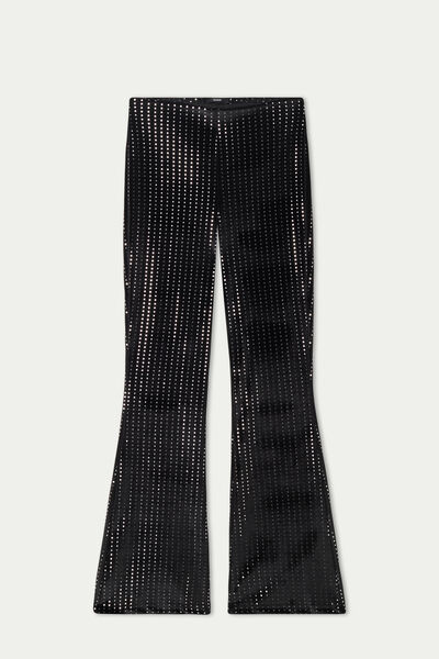 Velvet Flared Trousers with Mirrors