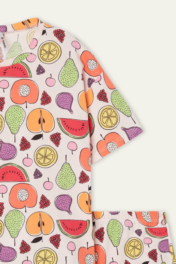 Girl's Short Fruit Print Cotton Pajamas