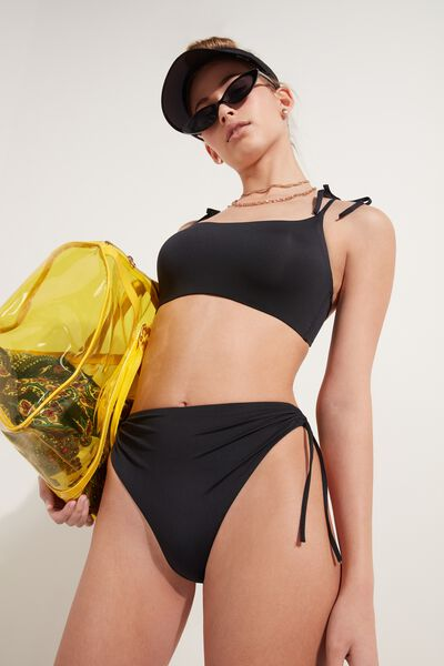 High-Waist Brazilian Bikini Bottoms in Recycled Microfibre with Drawstrings
