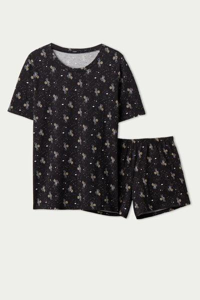 Pyjama Court en Coton Bio avec Imprimé Abeille