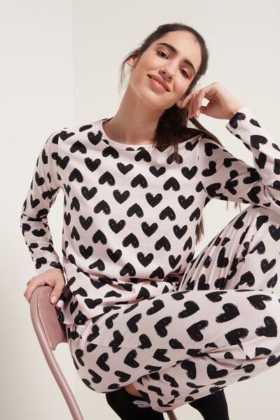 Heart Print Long Cotton Pyjamas