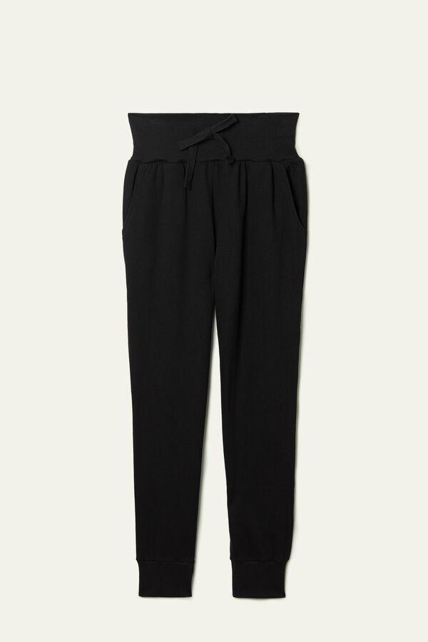 Pantalon Long Molletonné Bande Côtelée