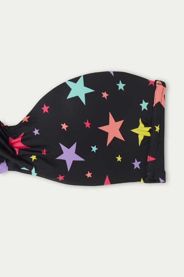 Color Stars Bandeau Bikini Top with Knot