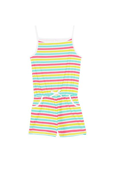 Short Multicoloured Stripe Playsuit Pyjamas