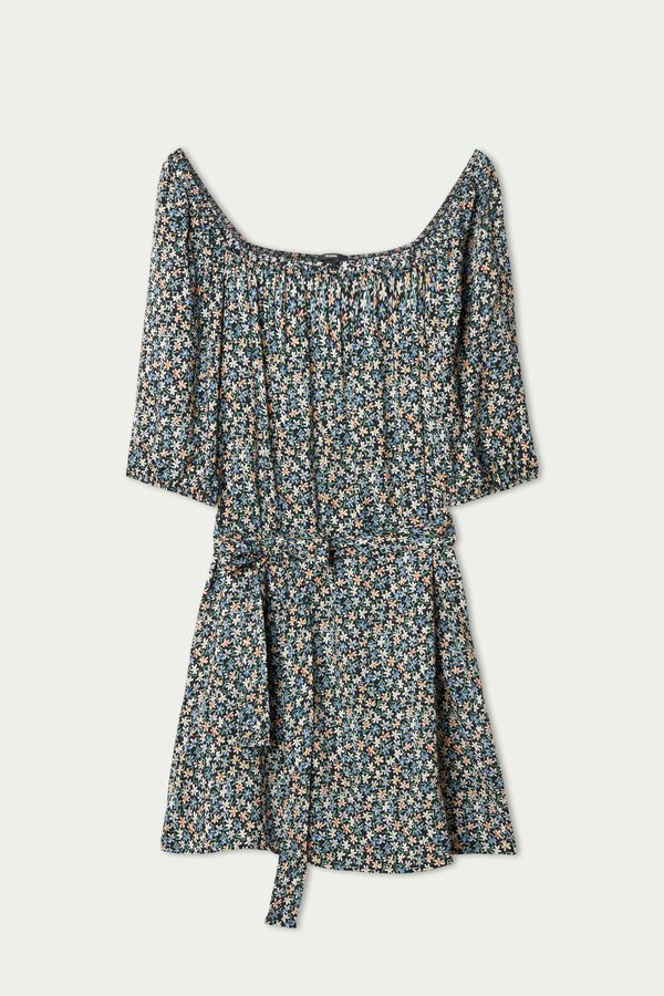 Short Sleeve Canvas Dress with Square Neck