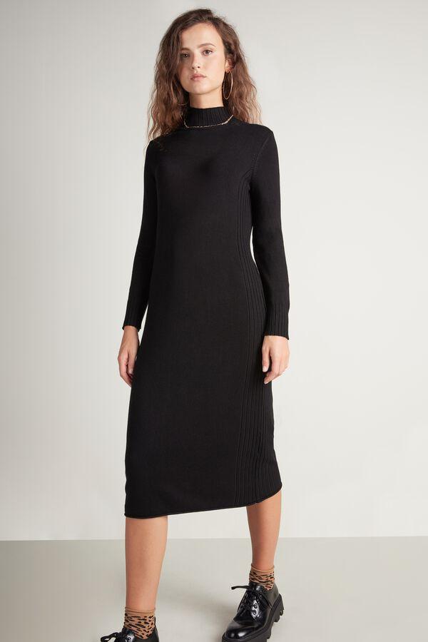 Mock Turtleneck Midi Dress