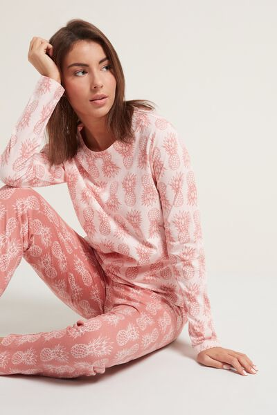 Long Cotton Pineapple Print Pajamas