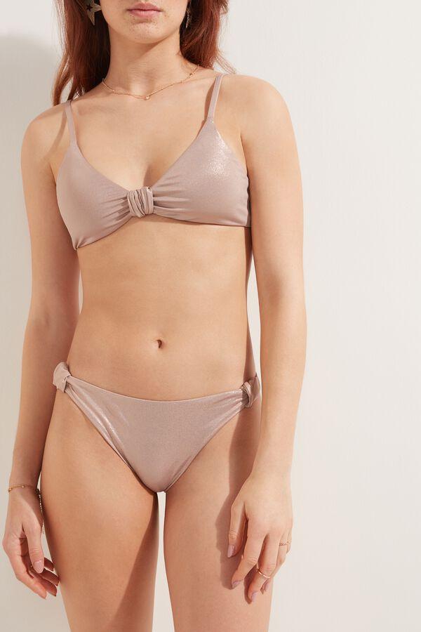 Shiny Nude Brazilian Bikini Bottoms with Knot