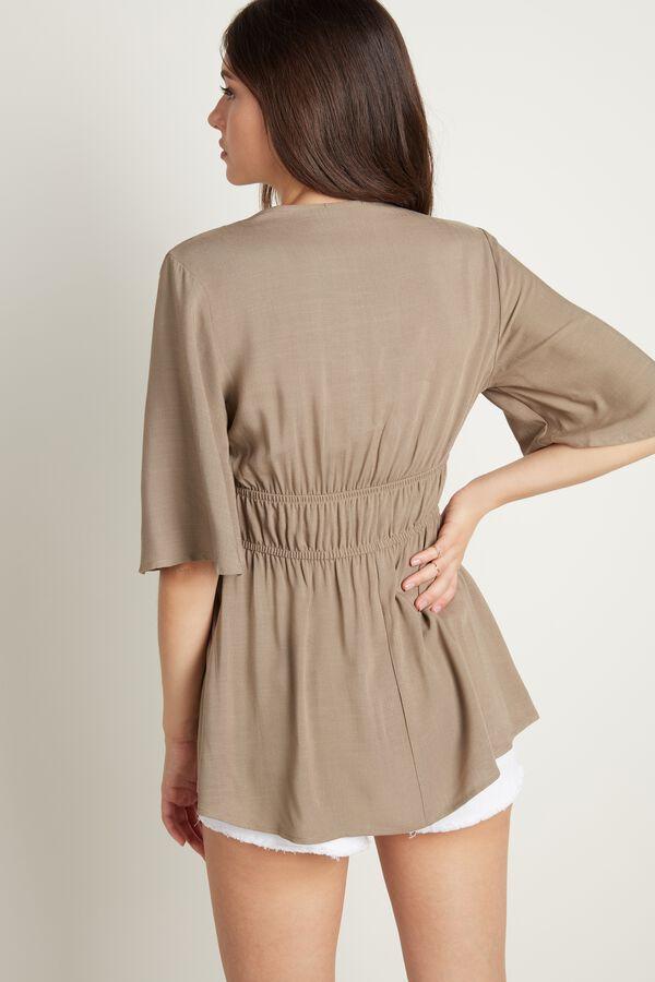 Short Sleeve V-neck Fabric Top