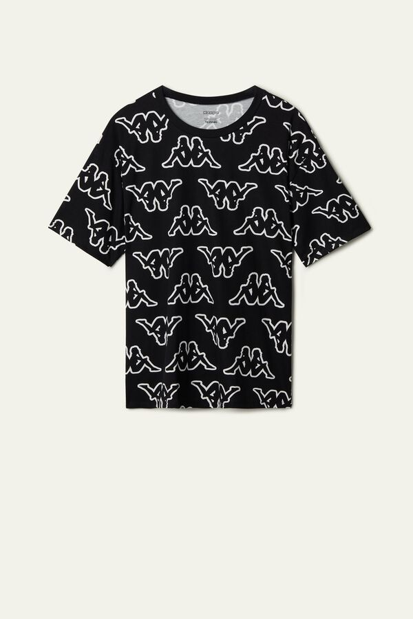 Cotton T-Shirt with All-Over Kappa Logo